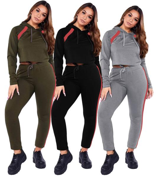 Sportwear Patchwork Women's Suit Activewear Two Piece Set Hoodies Tops Jogger Pants Suit Tracksuit Matching Set Outfit S M L XL XXL