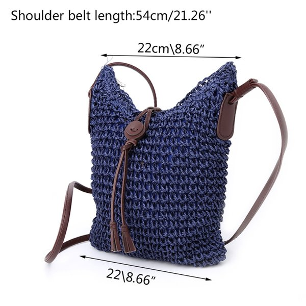 thiinkthendo women handbag shoulder bag straw weave tote purse lady beach hobo bag crossbody (589345952) photo