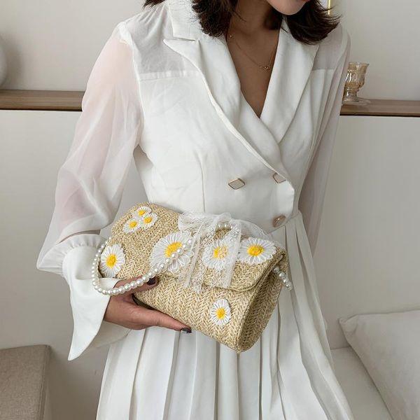women daisy flower handbag purse girl straw weave beach pearl totes shoulder bag youth ladies simple versatile bag (567733524) photo