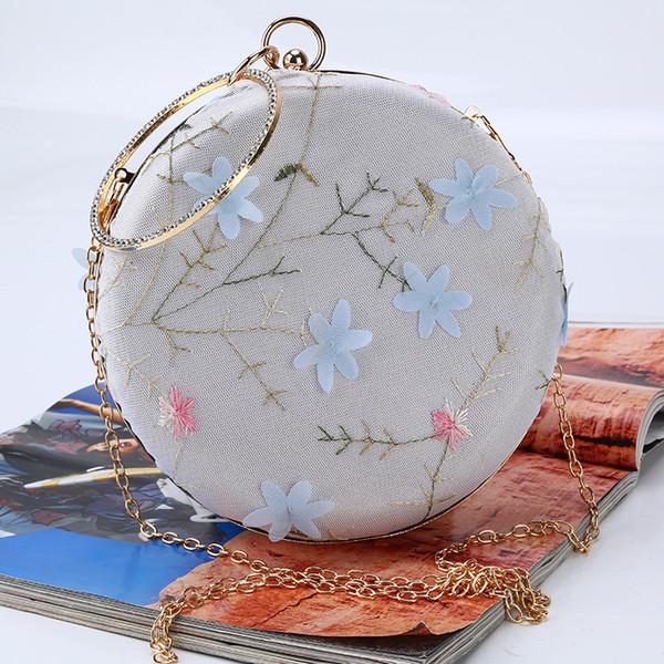 french ladies circular evening bag women handmade wedding flower clutch bag big ring totes for phone purse makeup packs (585926303) photo