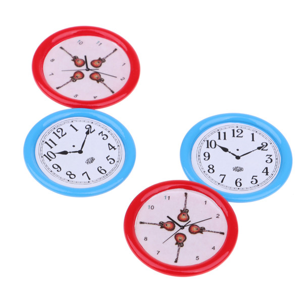 1:12 Doll House Bedroom Living Room Accessories Furniture Diy Dollhouse Mini Clock Miniature -red & Blue