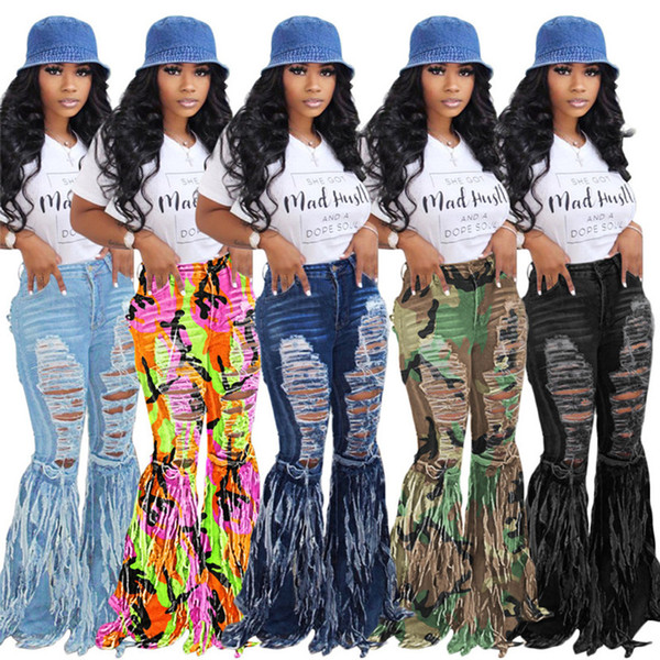 Plus size 2XL Women bell-bottom jeans brand washed ripped holes blue jeans fashion flared Pants strendy tassels denim boot cut leggings 3740
