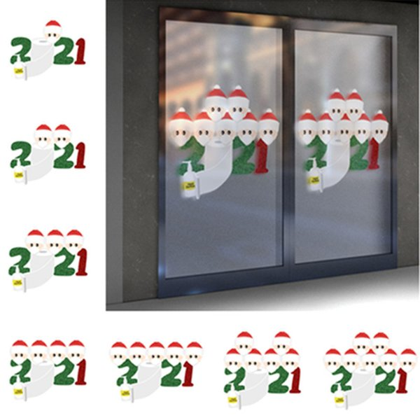 2020 Christmas Stickers Ornament Quarantine Family Sticker Posters Party Wall Window Home Decorations Favor Kids Gifts Cartoon Toy F91207