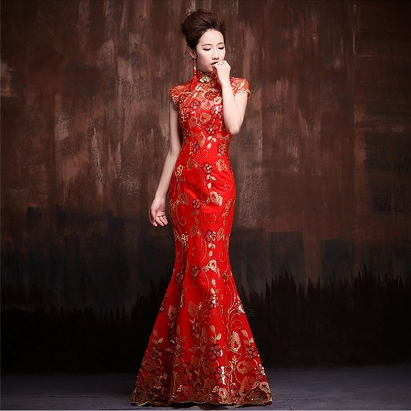 Bridal wedding toast red welcome cheongsam etiquette long women's catwalk fishtail watch Formal dress cheongsam dress large size performance