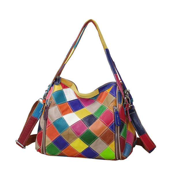 fashion women messenger shoulder handle genuine leather bags first layer cowhide luxury ladies crossbody tote purse handbag (581955242) photo