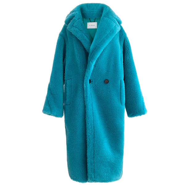 100% Alpaca Real Fur Coat Women Winter Suit Collar Long Nature Teddy Bear Fur Coats Overcoat Female Genuine Furs Jacket T200915