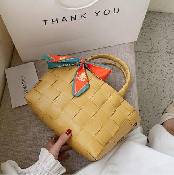 mom weaving shoulders bag with silk scarves designer luxury handbags purses wholesale women shipping bags large capacity (585188321) photo