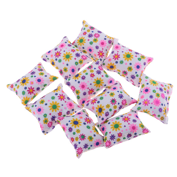 10pcs Dollhouse Miniature Floral Cushions Pillow Sofa Bedroom For 1/6 Doll Accessory
