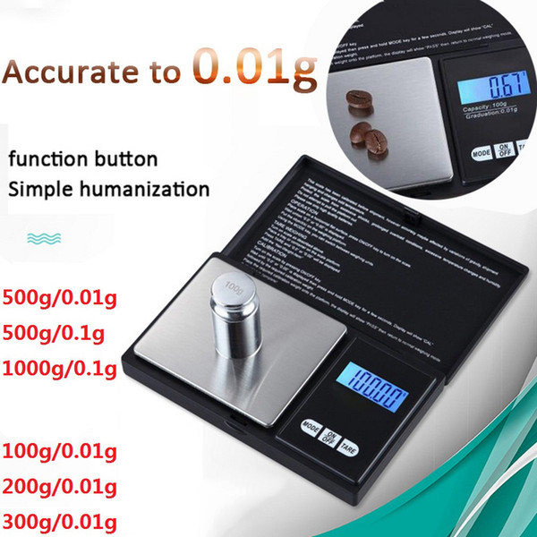 100/200/300/500g x 0.01g 1000g x 0.1 Digital pocket Scale Electronic Precise Jewelry Scale High precision Kitchen scale