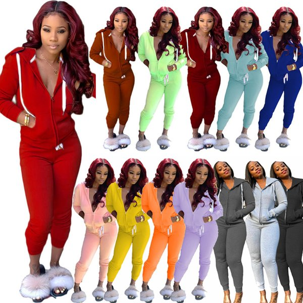 Fall Winter women 2 two piece clothing Zipper Hooded Jacket leggings pants tracksuits with pockets outfits set sweatsuits jogging clothes