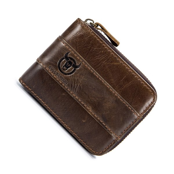 genuine leather short first layer leather men women wallet leisure change license card slot wallet coin card zip money bag purse (583684973) photo