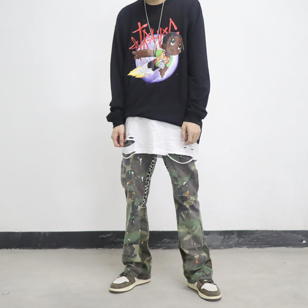 New fashion flare pants street Suitable for style hip hop rapper Street dance skateboard Sneakers Camouflage Leopard Splicing flare pants