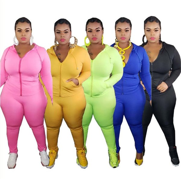 Plus size XL-5XL Women Tracksuit solid color 2 piece set long sleeve jacket+leggings sports jogger suis fall winter clothing outfits 3797