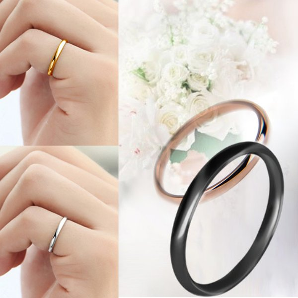 1PC Hot Couples Rings Wedding Solid Unisex Titanium Steel Smooth Women Men Alloy Anniversary Allergy Free Jwelry Gift OA-34