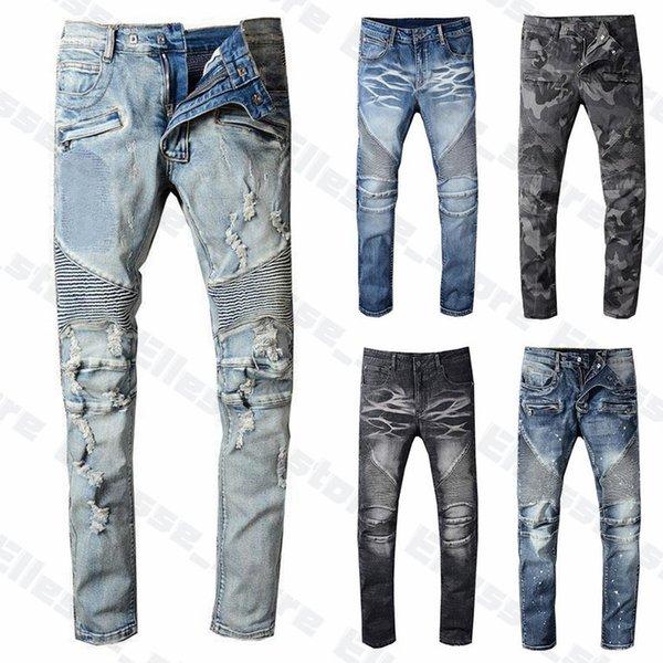 20ss Mens Designer Jeans Distressed Ripped Biker Slim Fit Motorcycle Biker Denim For Men s Top Quality Fashion Mans Pants pour hommes