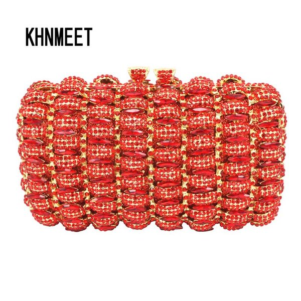 new designer red cocktail party clutch bags french romantic evening bag women handbags red studded jeweled pochette purse sc148 (583005446) photo