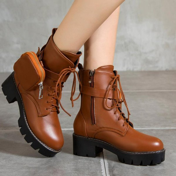 sale 2020 large sizes 43 square heels purse shoelaces cool street stylish winter shoes woman boots female (586440186) photo