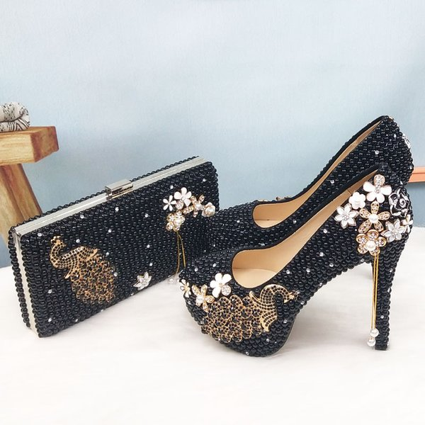 baoyafang black pearl beads womens wedding shoes and bags set woman fashion party dress peacock female shoes high pumps purse (584469889) photo