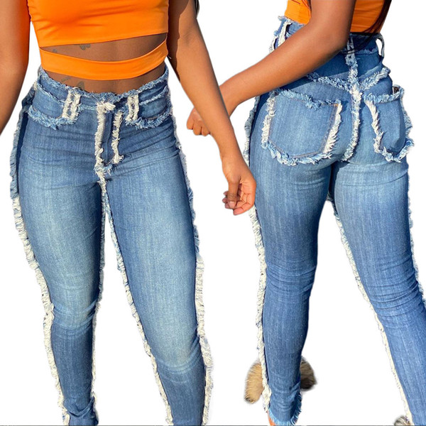 High Waist Denim Jeans Women Mom Fashion Sexy Pants With Tassel Pockets Ripped Zipper Jeans Wash Pencil Pant Female
