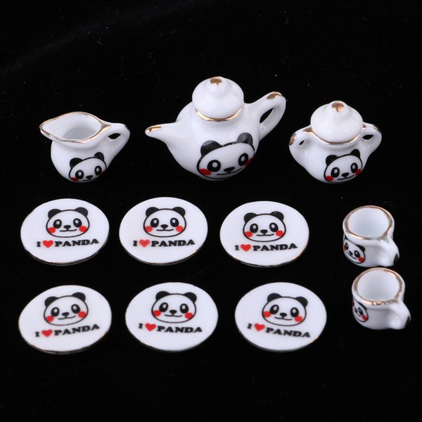 1/12 Dollhouse Miniature 15pcs Chinese Ceramic Tea Set Pot Cup Plate Kit Panda Printed