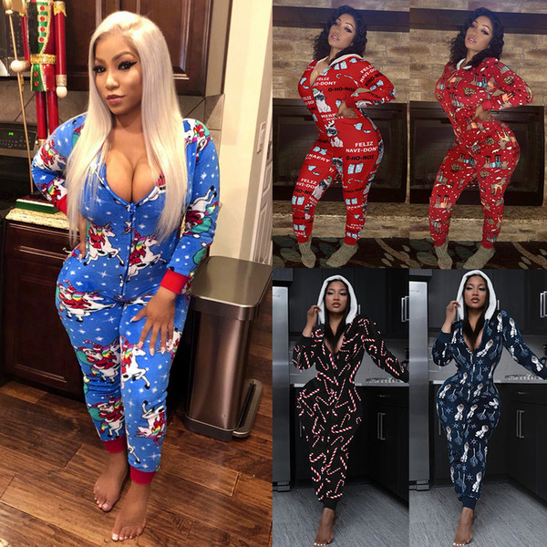 Women one piece Jumpsuit Casual V-neck Hooded Christmas Printed Long Sleeve Home Wear Slim Rompers Ladies New Fashion Clothing