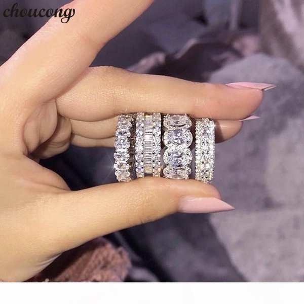 17 Styles Lovers Promise Ring 5A Zircon cz 925 Sterling Silver Wedding Band Rings for women men Party Jewelry Best Gift