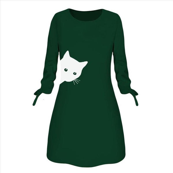 #Z40 Dress Women Fashion Cat Printed Animal O Neck Bow Long Sleeve Blouse Dress Spring Autumn A-Line Mini Party Dress Vestidos