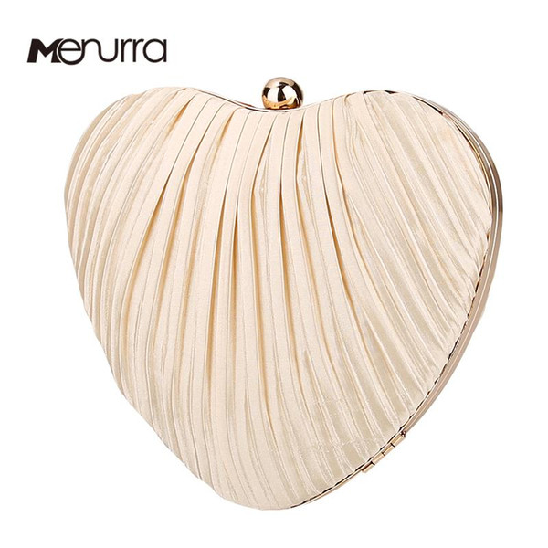 cute heart shape clutch bags for women pleated cotton wedding evening purse with shoulder chain starp (595363969) photo