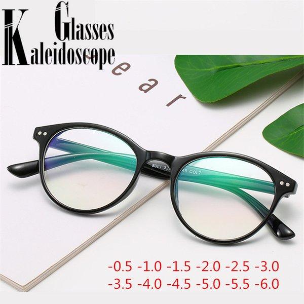 -3.0 -0.5 -2.0 -1.0 -1.5 -3.5 -4.0 -4.5 to 6.0 Finished Myopia Glasses Women Men Vintage Round Floral Print Short-sight Eyewear
