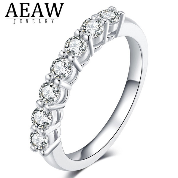 0.7ctw 3mm DF Round Cut Engagement&Wedding Moissanite Lab Grown Diamond Band Ring Sterling Silver for Women 201113