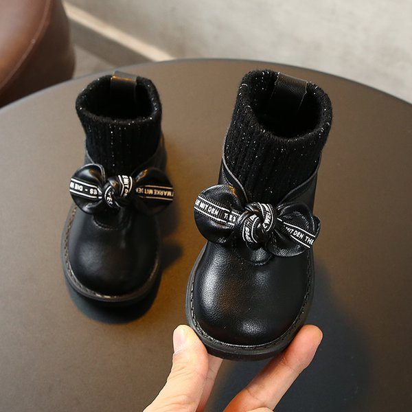 0-1-2-3 old Autumn years and children's winter sports non-slip girls casual bowknot Keep warm cotton shoes