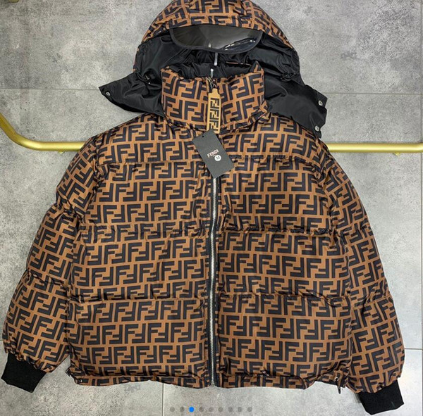 20FW Fashion jacket brand winter jacket men yellow Letter print Cotton coat mens winter coats Clothing mens coats Long section mens jacket