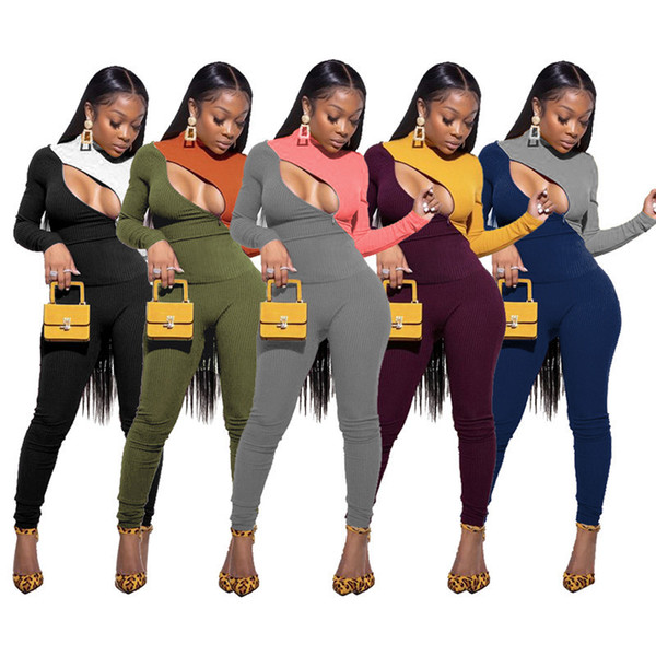 Designer Women Tracksuits 2 Pieces Set Slim Contrast Stitching Zipper Long Sleeve Panelled Tops Pants Fall Winter Casual SportWear 2020
