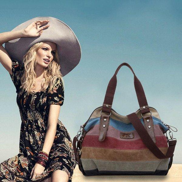 new womens hobo shoulder bag satchel crossbody tote multi-color stipe bags purse canvas messenger (591527905) photo