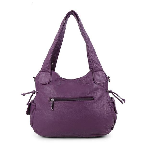 washed pu leather women purse handbag soft handle pillow shape hobo crossbody sling shoulder bag (592754610) photo