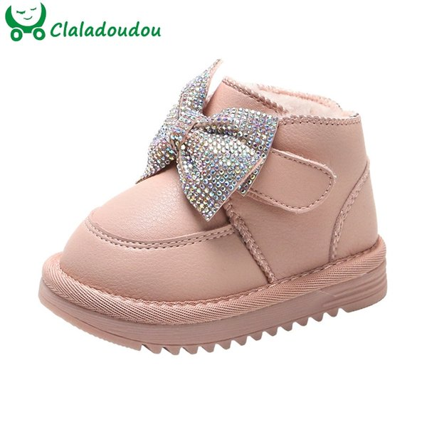 12-15.5CM Children Snow With Thicker Plush Kids Girls Warm Winter Shoes Bling Rhinestone Bow Knot Solid Pure Toddler Boots