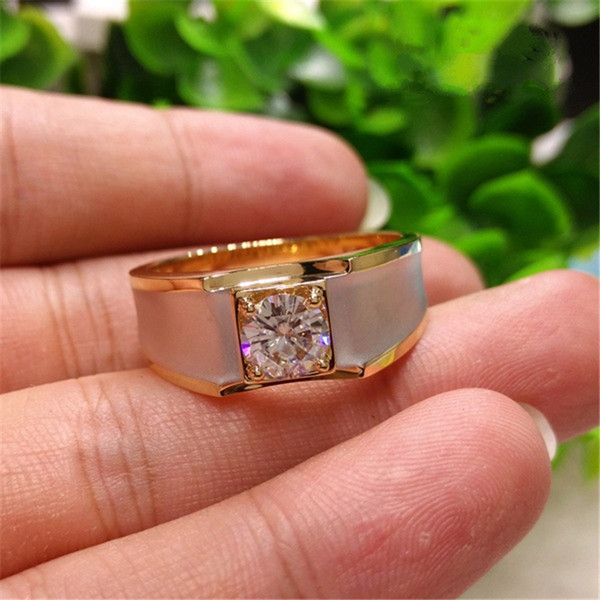 18K Yellow Gold 1 Carat Diamond Ring for Men Fine Anillos De Bizuteria Square 18K Gold Gemstone Engagement Ring for Men Jewelry 201112