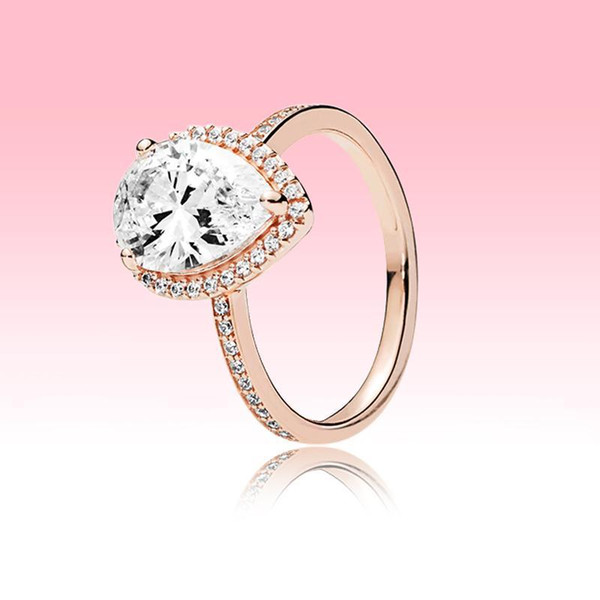 18K Rose gold plated Wedding RING CZ diamond Teardrops Ring wiht Original box for Pandora 925 Silver tear drop Ring Women Jewelry
