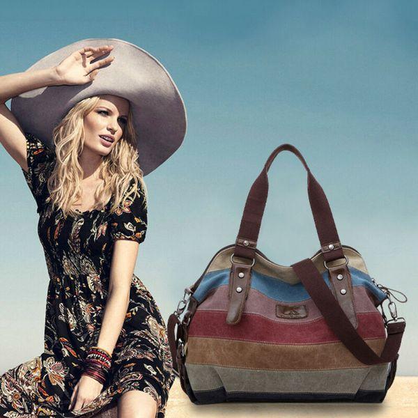 new womens hobo shoulder bag satchel crossbody tote multi-color stipe bags purse canvas messenger (591447047) photo