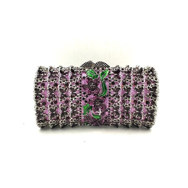 women evening party diamonds elegant purses luxury crystal clutches bridal wedding party flower butterfly crystal purses bag (595614389) photo