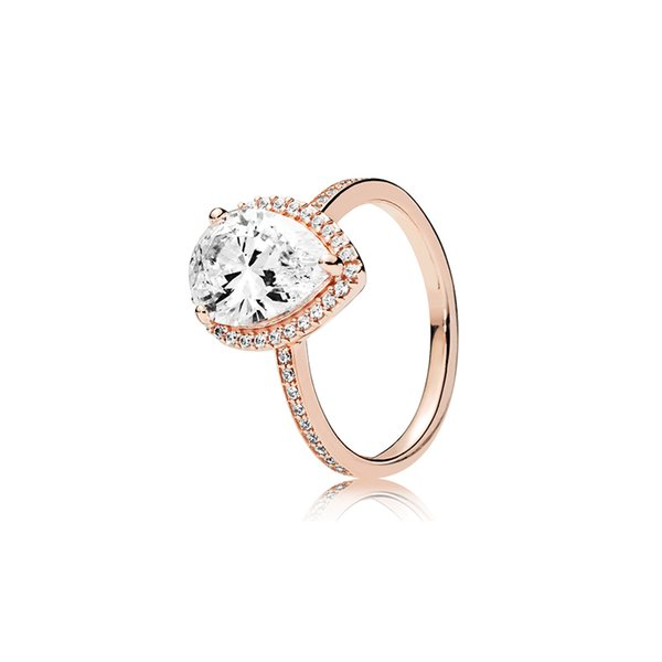 18K Rose gold Tear drop CZ Diamond RING with Original Box for Pandora 925 Silver Wedding Rings Set Engagement Jewelry for Women