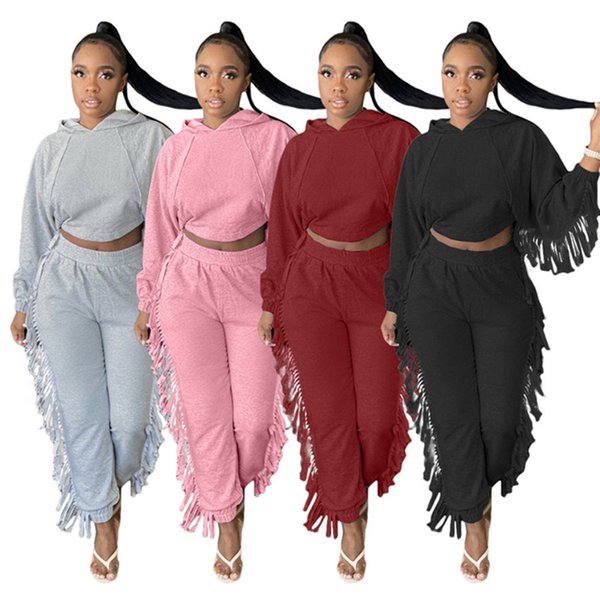 Women designer tassel outfits 2 piece set solid color fall winter casual clothing tracksuits S-2XL long sleeve hoodies pants sweatsuit 4112