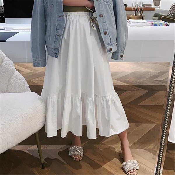 11 Solid Color Women New Fashion Long Skirts Female Casual Elastic Waist Ruffles Cotton A Line Skirts Plus Size 6XL 7XL