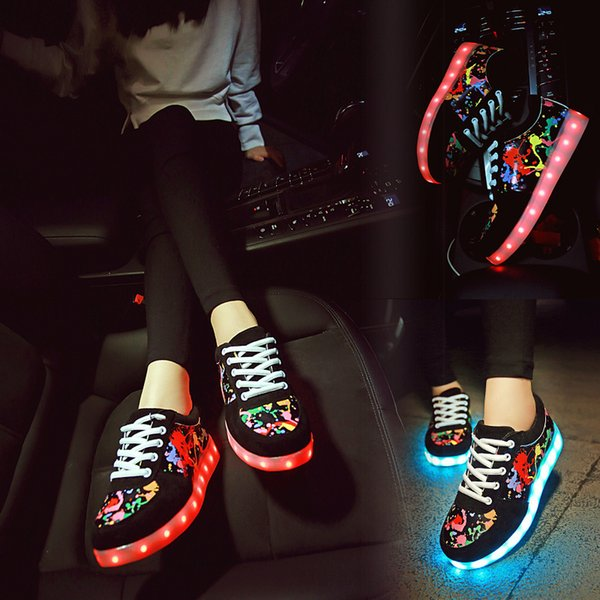& Glowing Sneakers Kids Size 30-44 Adult with Lighted up Sole LED Slipper for Children Boys Girls Luminous Shoes