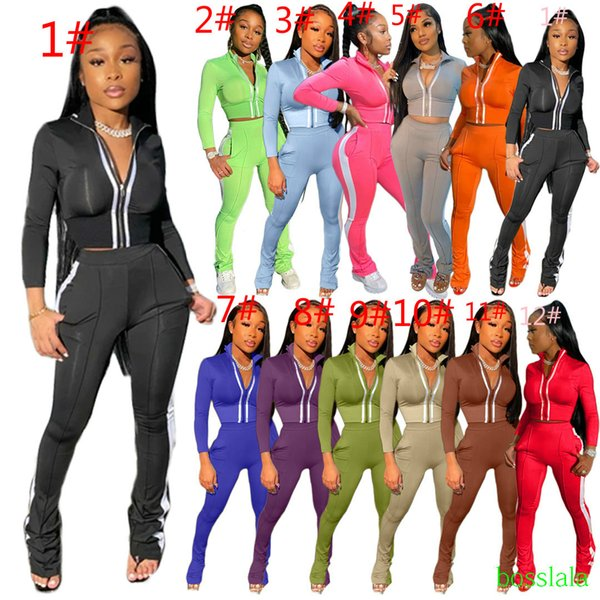 Women Designer Tracksuit Two Piece Outfits Sports Leisure Fashion Long Sleeve Micro Flared Pants Set Zipper Top Plus Size Women Clothing
