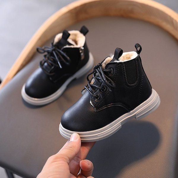 1 3 4 5 6 Years 2020 Baby Boys Girl Autumn Winter PU Leather Children'S Sport Shoes Snow Warm Flat Boots For Kids Sneakers