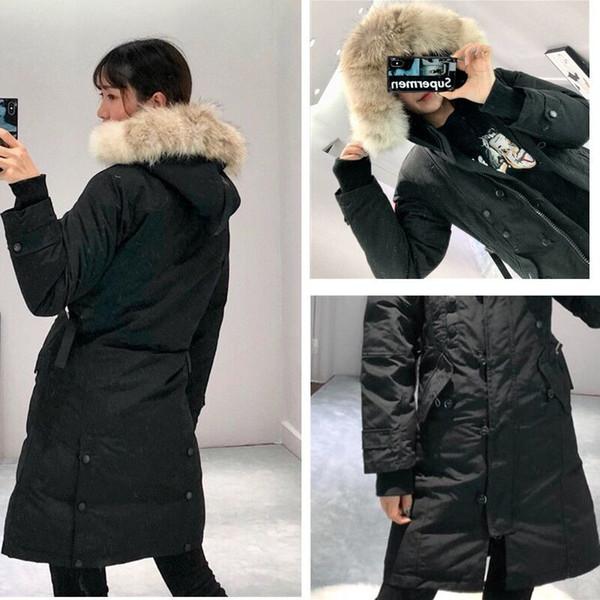 Winter down jackets hoodie real wolf fur Holder women's jacket zipper Windproof and waterproof coat warm down coat outdoor parka women