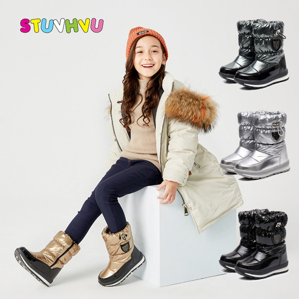 -30 Degrees Winter Warm Children's Waterproof Thickening Plus Velvet Boys and Girls Snow Shoes Kids Cotton Boots
