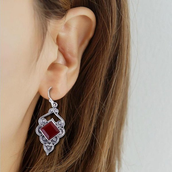 Thai Silver Dangle Drop Earrings Women Natural Red Stone Vintage Square Shaped Long Dangling Earring Female Personalized Jewelry sqcYnD