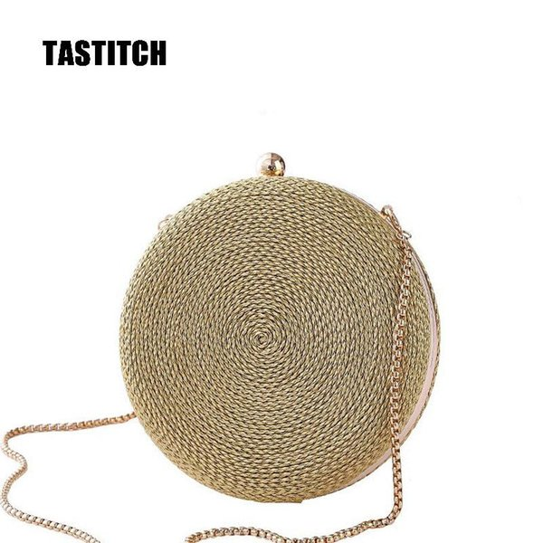 vintage round design day clutch bags women chain shoulder bags round straw evening bag party handbags purses wicker cute purses (592143468) photo